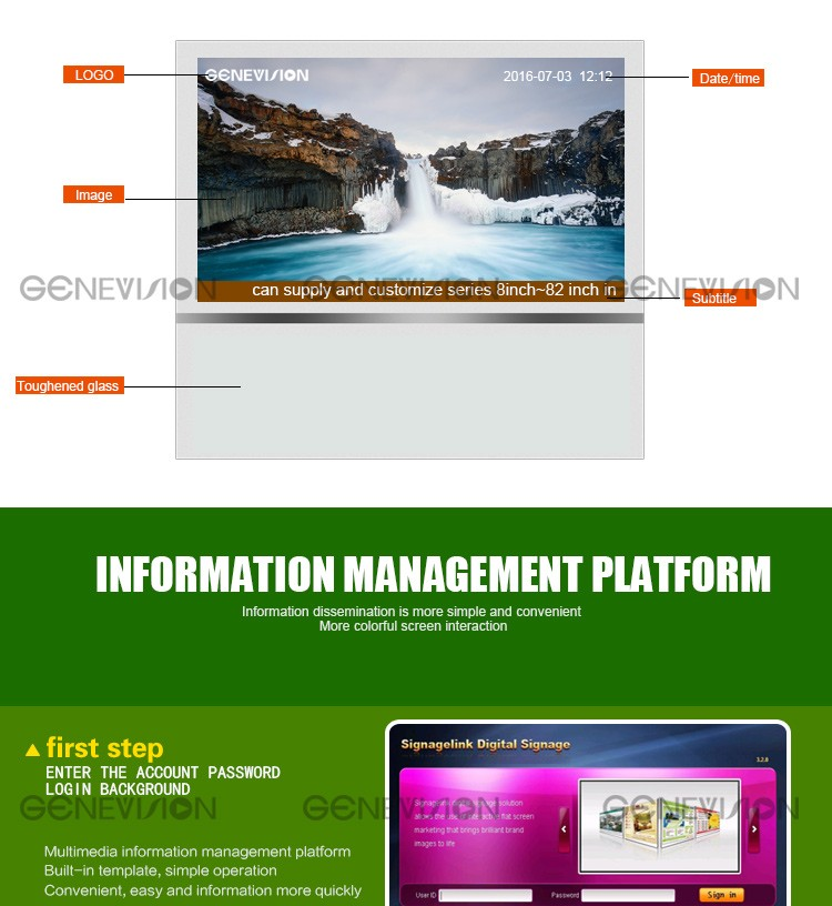 21.5 inch led digital signage video advertising pubilish system