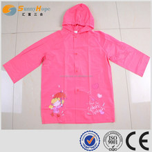SUNNYHOPE girls pink pvc hooded girls raincoat for waterproof
