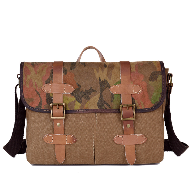 European Vintage Stylish Classical Canvas Genuine Leather Handbags Three in One Camouflage Briefcase for Unisex