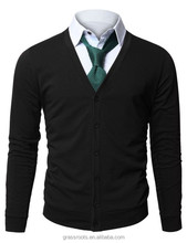 Mens V-Neck Cardigan with Button up mens plain cardigan sweater