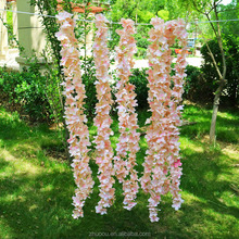 Zhuoou 2m Length Champagne White Silk Flower Wedding Decoration Artificial Flowers Wisteria Garland