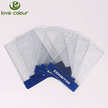 New arrive custom cheap soft clear PVC exhibition card holder for guest