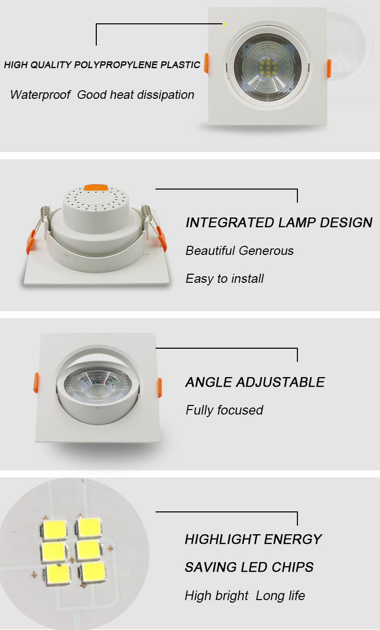Zhongshan factory price indoor smd skd adjustable led spot down light 5w