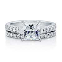 Sparkling Cushion Cut Stone Ring White CZ Stone Rings In 925 Sterling Silver