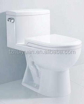 Floor mounted siphon flushing one piece ceramic toilet WC sanitary in China