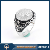 Huihao Silver brand turkish style man ring 925 silver jewellery with white cz
