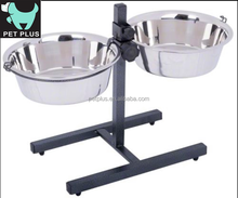 Twin Bowl Sets Height Adjustable for Pet Dogs Cats Bowl