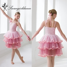 BL0151 pink women cupcake modern performance dance ballet tutu dress with sequin bodice