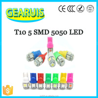 manufacturer W5W T10 5 smd 5led 5050 LED 194 168 501 Good quality LED For car clearance light white blue yellow green DC 12V
