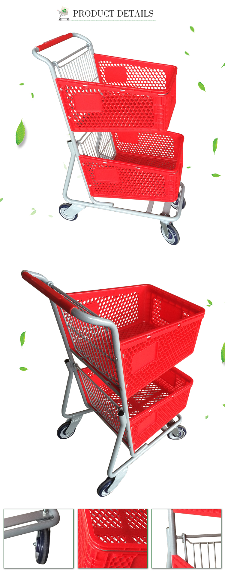 Double layer cheap trolley baskets holder shopping cart