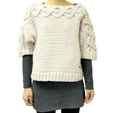 Ladies Hi-Bulky cable lace two-tone style pullover sweater