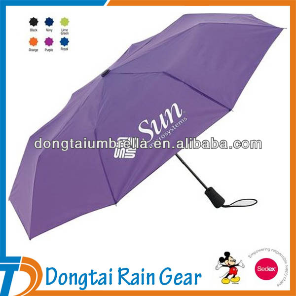Purple Folding Umbrella with Custom Logo