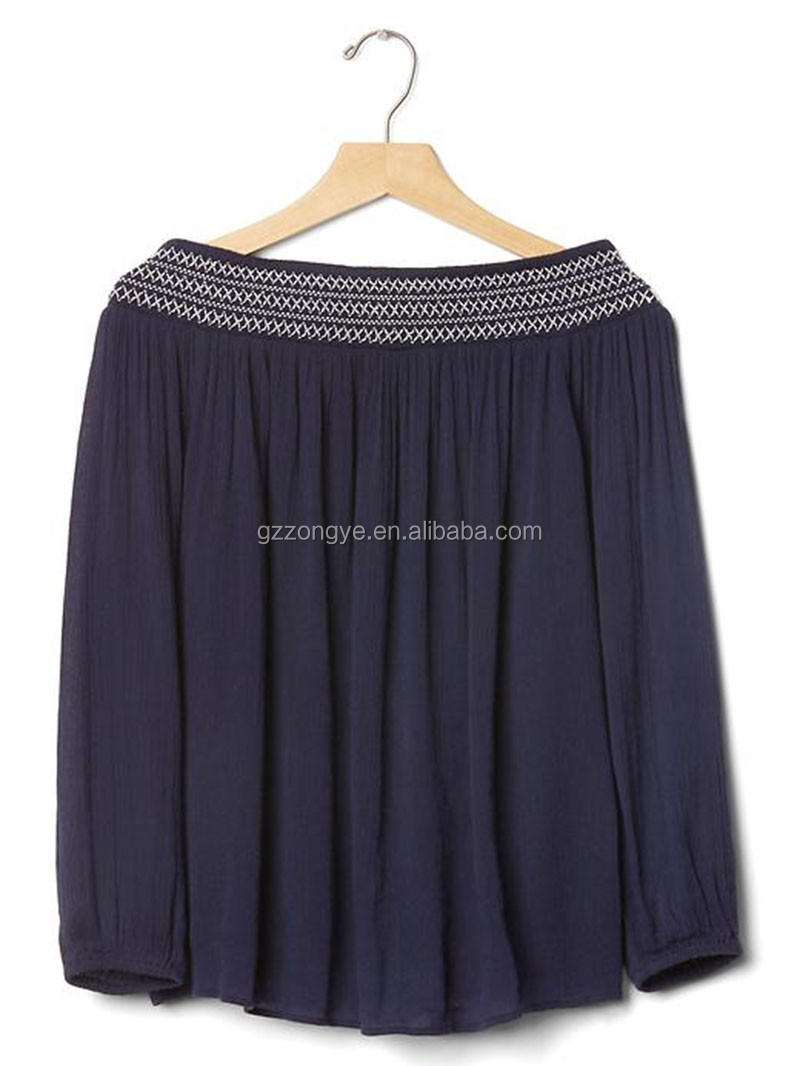 Off shoulder long sleeve pleated sexy tops for women