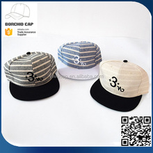 lovely fashion high quality simple 6-panel numbers embroidery striped hip-hop hat two-color flat bill snapback cap wholesale