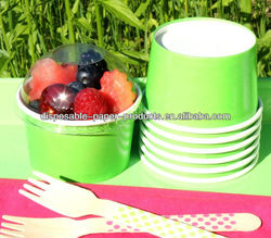 polka dot paper party Tableware Supplies YIWU Lime Ice Cream Cups