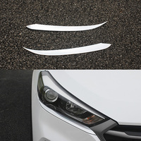 Free Shipping 2Pcs/Set Car Decoration Accessories Headlight Lamp Eyebrow Chrome Cover Trim Strips For Hyundai Tucson 2015+ 2016
