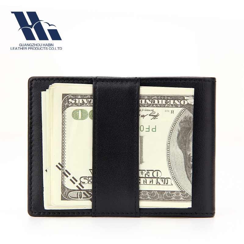 moeny clip wallet leather card men wallet with elastic band