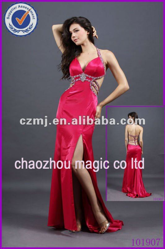 Sexy Satin Halter Sheath Ladies Evening Dress Prom Dress