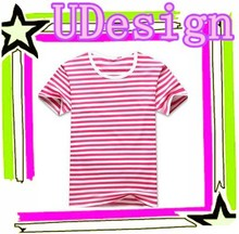 Red white stripe 100% cotton t shirts popular unisex soft loose t shirt