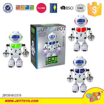 Educational battery operated dancing and singing robot toy with light