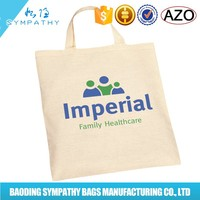 promo OEM production printed organic canvas tote bag with webing handles