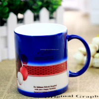 ceramic material and stocked, eco-friendly feature color changing mug promotional gift item