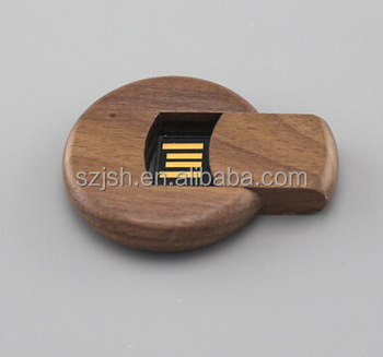 Round wooden USB flash drive, round shape wooden usb stick