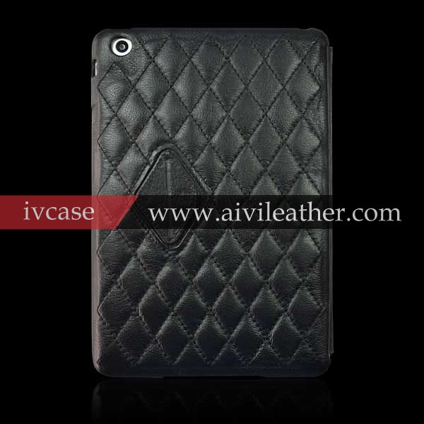 Classical diamond check fine grain leather cover case for iPad mini 2 3 case leather, custom stand cover for apple iPad mini 2 3