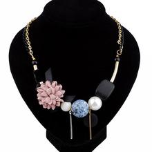 Latest design beads fabric handmade flower necklace