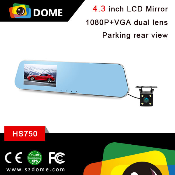 4.3 inch TFT car rearview mirror dual camera front back rear view DVR