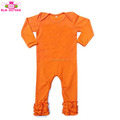 Long Sleeve Boutique Infant Clothes One Piece Romper Icing Ruffle Jumpsuit Blank Orange Halloween Baby Ruffle Rompers Wholesale