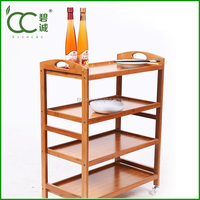 Wooden Restaurant Food Service Trolley / Kitchen Trolley With 4 Food Trays