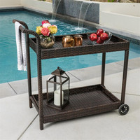 Useful poly rattan import furniture for entertaining home restaurant outdoor dinner party food serving cart