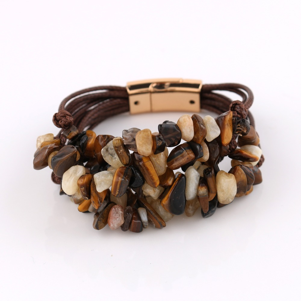 magnetic link fashion jewelry multilayer nature stone bead charm bracelets
