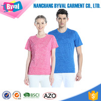Factory Direct Wholesale Clothing 100%Polyester Dry Fit Couple Sports Round Neck Cation Screen Printed T-shirts
