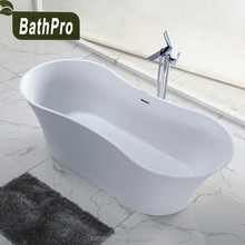 Center Drain Location and Soaking Function artificial stone freestanding bathtub