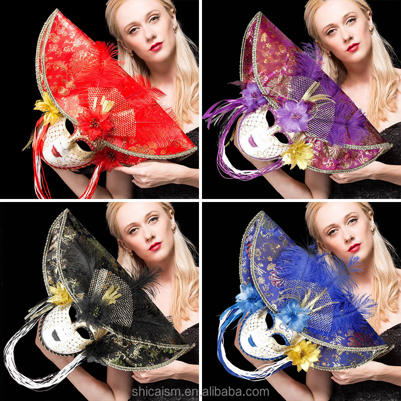 Venice Mask Dama with Plume for Costume Party Masquerade Carnival Dionysia Halloween Christmas Classic Italia Mask Full Face