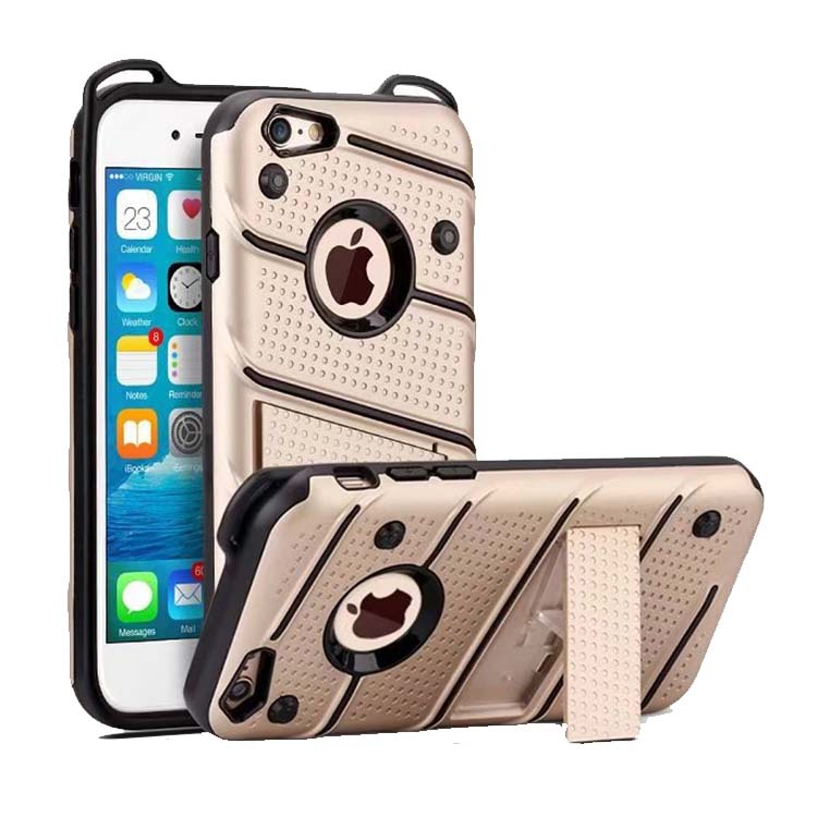 <strong>Hot</strong> in Amazon ZIZO Bolt Series Mobile Phone Cover For iPhone 8 7 6 Hybrid Shockproof Case With Kickstand Phone Case