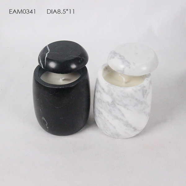 Classic home decoration white or black marble candle container