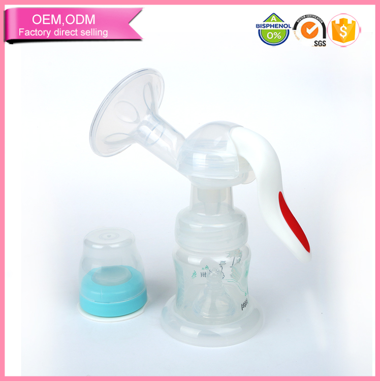 New 2016 product idea silicone manual pump breast with feeding bottle