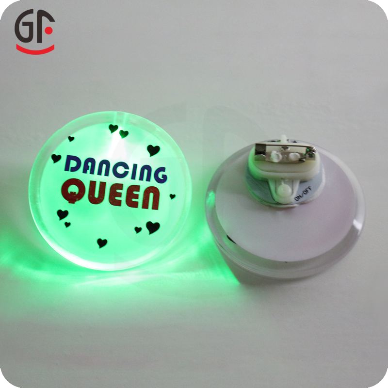 Electronic Gift Items Plastic Customized Designs Led Push Button Badge