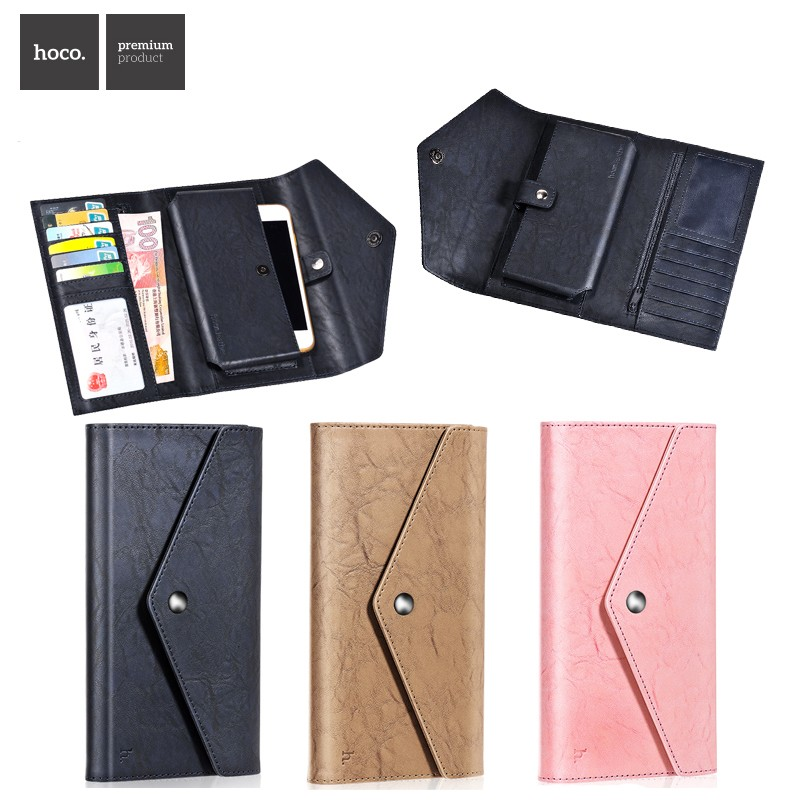 HOCO Envelop pattern genuine leather mobile case for iphone 6 6s, for iphone 6 6s wallet case with button