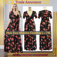 5064# Curvy Summer Printed Floral Dress Long Maxi Bohemian Sundress Beach Dresses Wholesale Clothes Women Ladies Plus Size