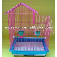 UW-PT-007 Beautiful house shaped pink parrot cages with large sapce for pets stay