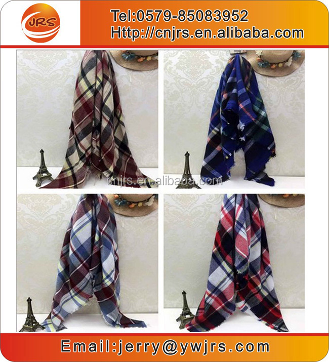 Wholesale multi design custom winter plaid scarf shawls promotion lady scarf shawls