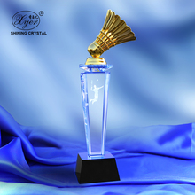Customized personalized K9 glass crystal Badminton crystal trophy award with 3d laser engarved for sports competition souvenirs