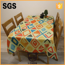 Colorful geometry printed non-slip cotton&linen table cloth fit in well anywhere