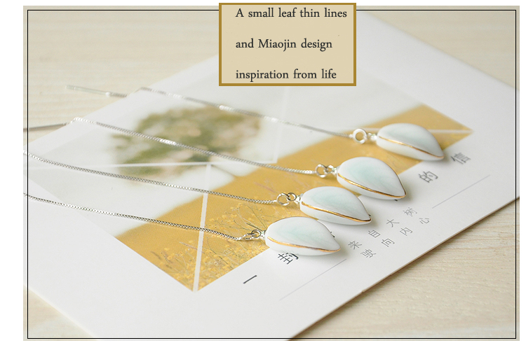 Hand painted ceramic anti allergy leaf shape gold wholesale cuatom design fashion pendant