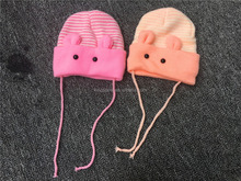 Animal Ear Soft Warm Double Winter Knitting Baby Cap With Rope