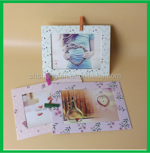 Creative DIY hanging paper funny photo frame with clips